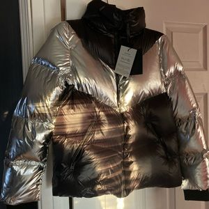 Mackage black and silver bomber chevron jacket